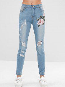 جينز مزين بزهور مطرزة - جينز ازرق L