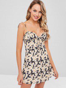 فستان كامي صغير مزين بالورود - متعدد M