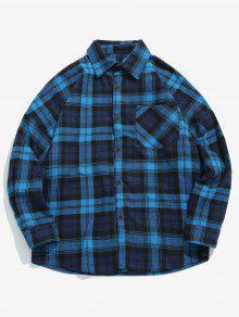 جيب الصدر فحص قميص - ازرق غامق S