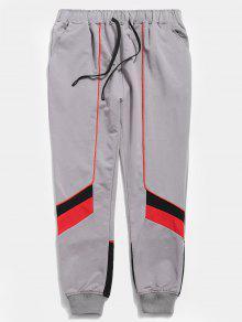 سروال لون كتلة الرباط - اللون الرمادي Xl