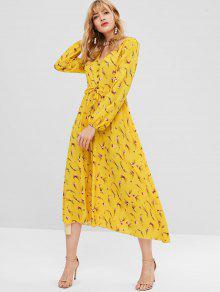 فستان ماكسي مزين بالزهور - أصفر فاقع Xl