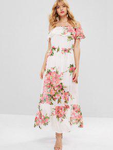 الكشكشة معطلة الكتف فستان زهري - متعدد S