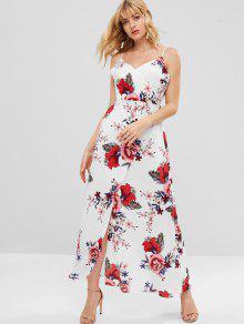 فستان بطبعة ورود - أبيض S