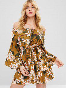 فستان بأكمام قصيرة من الورود الشفاف - متعدد S
