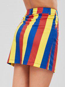 4e851ddf0c 27% OFF] 2019 ZAFUL Half Zip Striped Mini Skirt In MULTI | ZAFUL