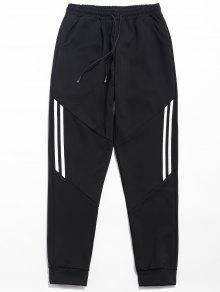 الرباط شريطية طباعة سروال عادية - أسود L