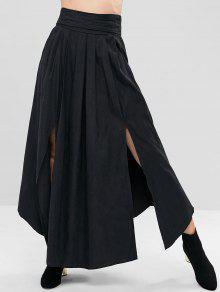 شق تنورة مطوي من التفصيل ماكسي - أسود M