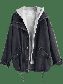 Hot 2019 Button Up Denim Jacket And Hooded Vest In Black L Zaful