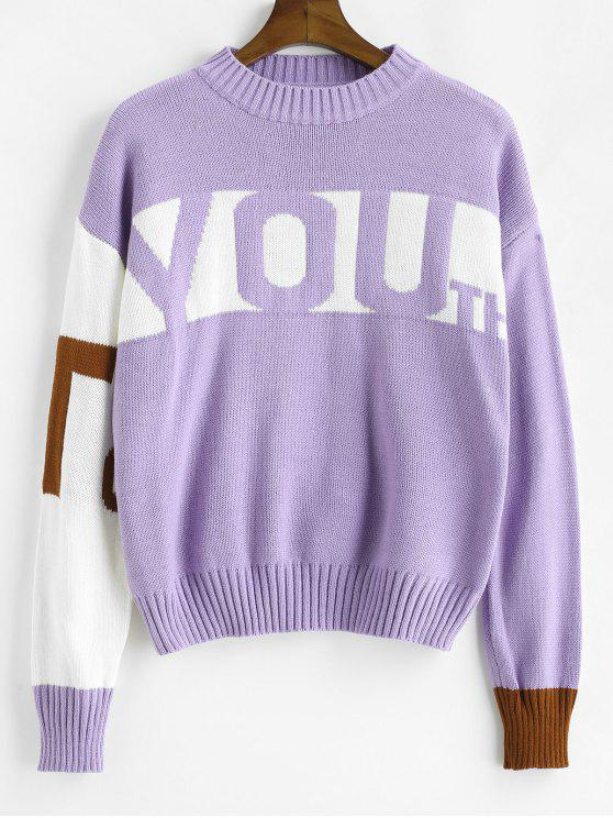 outfits Letters Pattern Color Block Sweater - PURPLE ONE SIZE