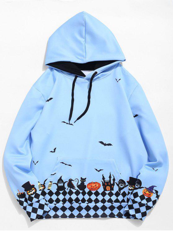 Drawstring Halloween Fledermaus Druck Hoodie - Mittleres Lila XL