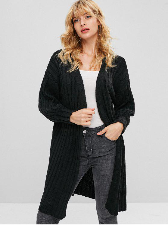 Cardigan Long Côtelé Ouvert en Avant - Noir Taille Unique