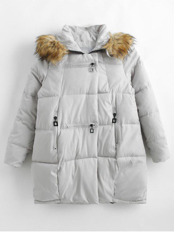 women's Zipped Quilted Puffer Winter Coat - GRAY GOOSE L