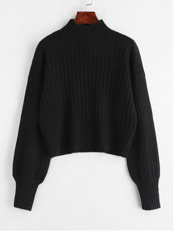 buy Dropped Shoulder Mock Neck Sweater - BLACK ONE SIZE