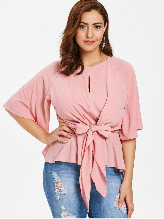 affordable ZAFUL Plus Size Front Knot Peplum Blouse - PINK L