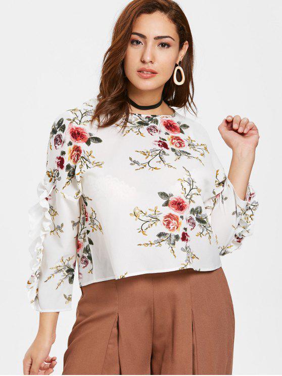 ZAFUL بالاضافة الى حجم الزهور الشيفون الكشكشة اللباس - أبيض 4X