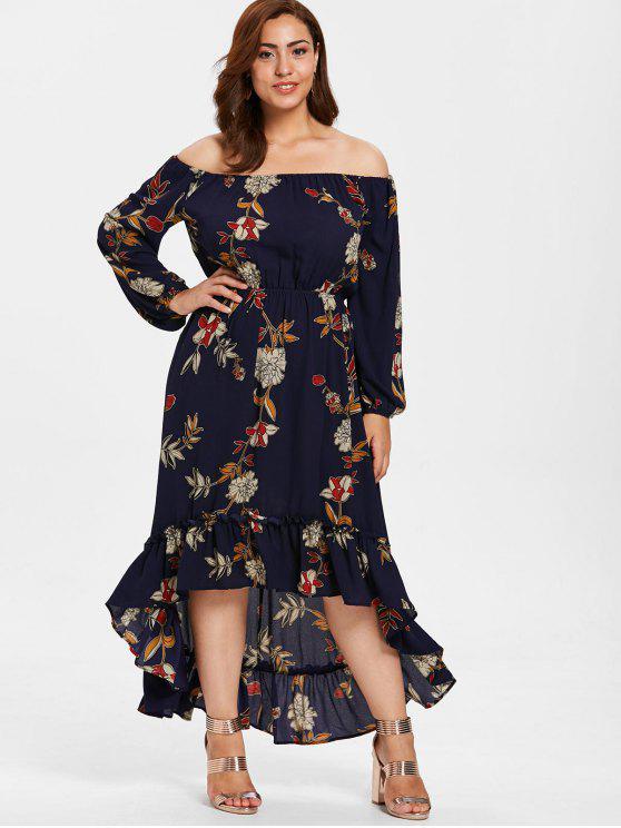 ZAFUL Плюс размер Высокий-низкий подол Цветочный принт Длинное Платье - Полуночный синий L
