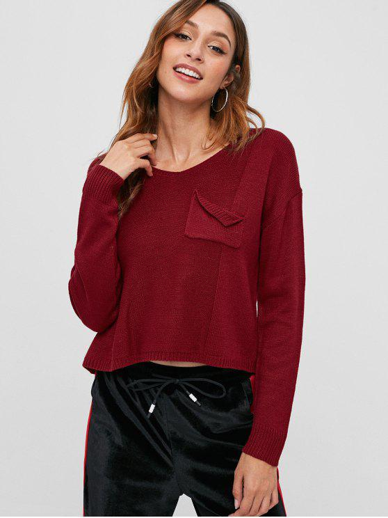 online V Neck Cutout High Low Sweater - CHERRY RED ONE SIZE
