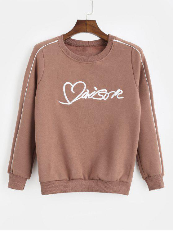 latest Embroidered Fleece Lined Pullover Sweatshirt - COFFEE M