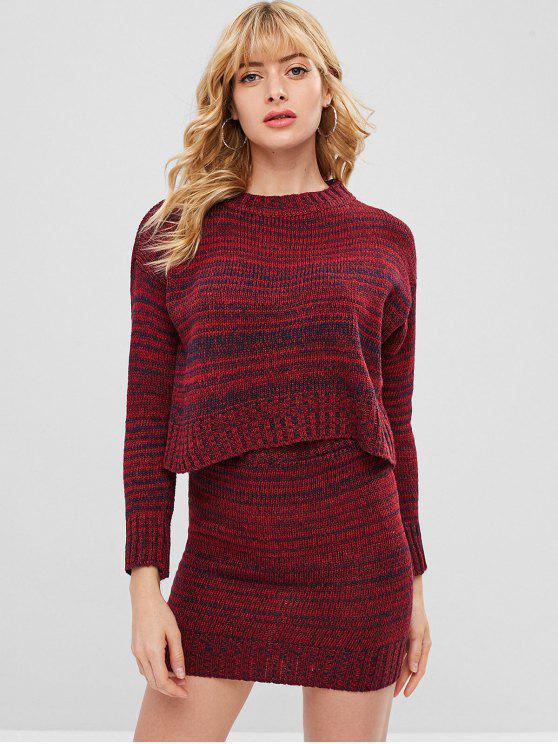 outfits Drop Shoulder Heather Bodycon Skirt Set - RED WINE ONE SIZE