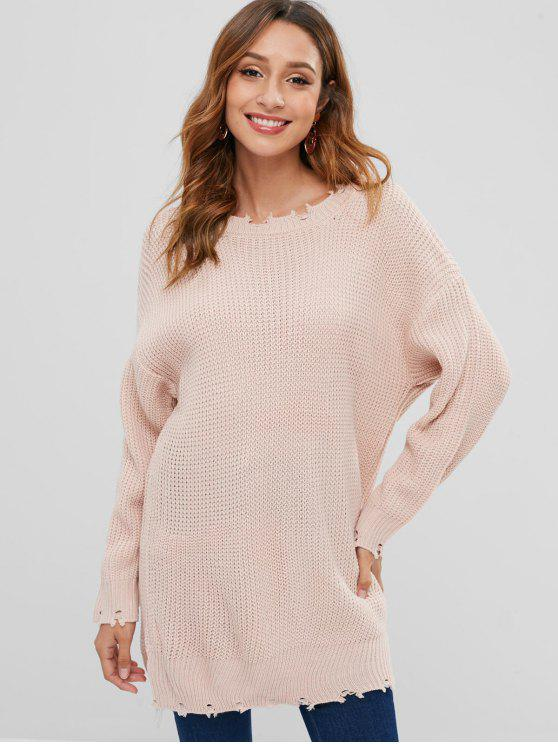 best Ripped Drop Shoulder Longline Sweater - PIG PINK ONE SIZE
