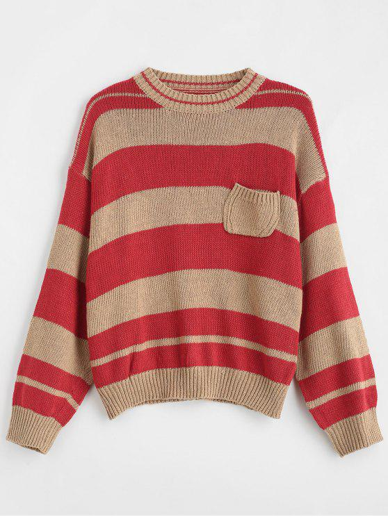 650e17ce53 affordable Oversized Striped Drop Shoulder Sweater - RED ONE SIZE