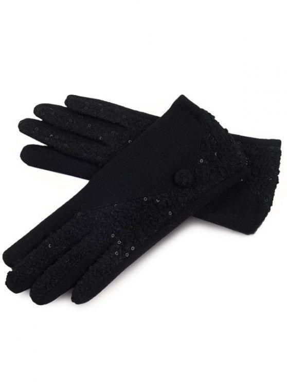 Guantes de dedos llenos de bloques de colores de invierno - Negro
