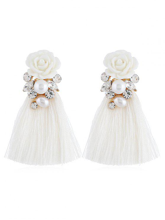 Pendientes de gota borla rhinestone floral vintage - Blanco