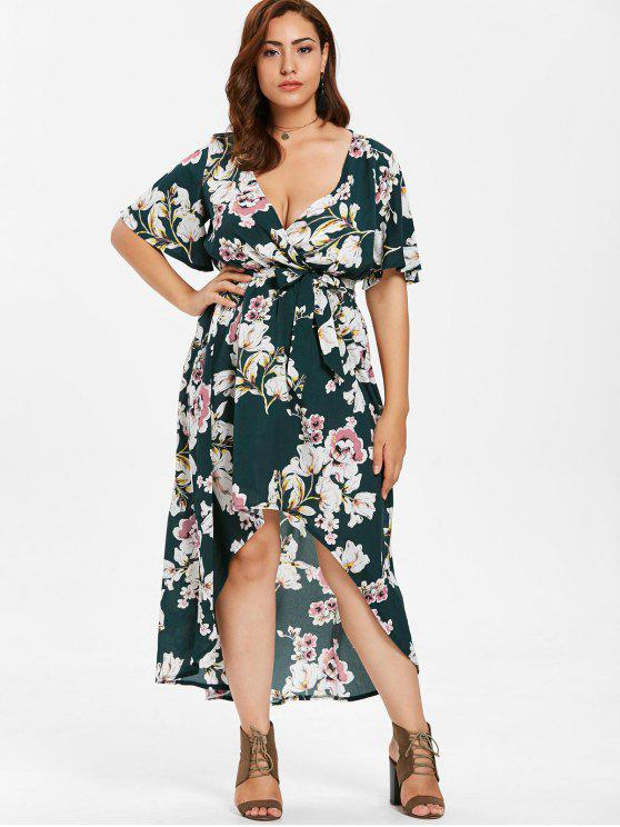 ZAFUL Plus Size Floral Print Belted Dress DARK GREEN