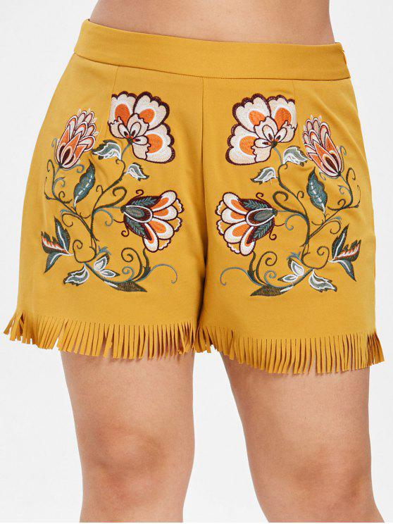 outfits ZAFUL Plus Size Floral Embroidered Fringed Shorts - BEE YELLOW 1X