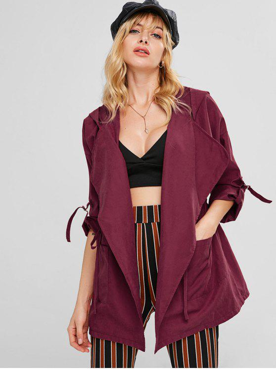 fashion Hooded Drawstring Tunic Coat - RED WINE S