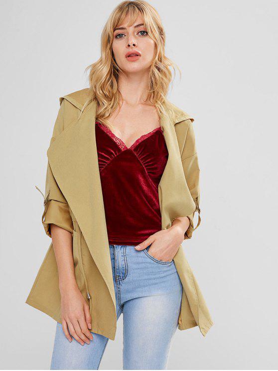 Casaco de túnica com cordão com capuz - Folha de Outono Castanho S