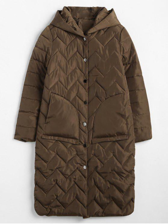 online Quilted Hooded Winter Puffer Coat - COFFEE M