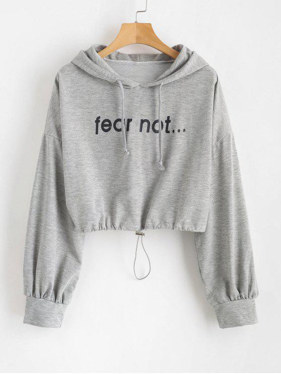 buy Loose Cropped Graphic Hoodie - GRAY CLOUD L