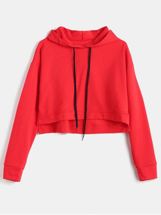 women Drop Shoulder Slit Crop Hoodie - RED M