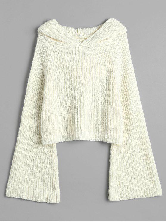 Suéter holgado con capucha y manga de campana - Blanco Cálido Talla única