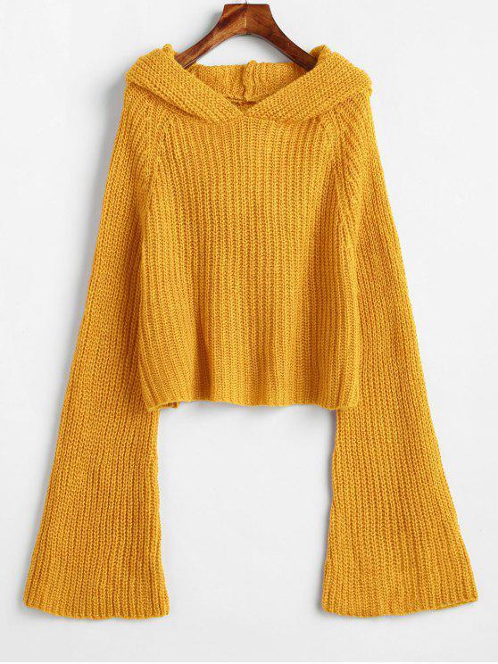Suéter holgado con capucha y manga de campana - Oro Anaranjado Talla única