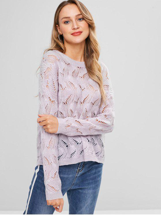 best Loose Knit Cable Knit Sweater - WISTERIA PURPLE ONE SIZE