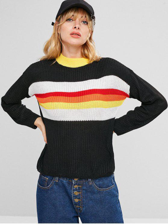 Kontrast Bunter Streifen Pullover - Schwarz Eine Größe