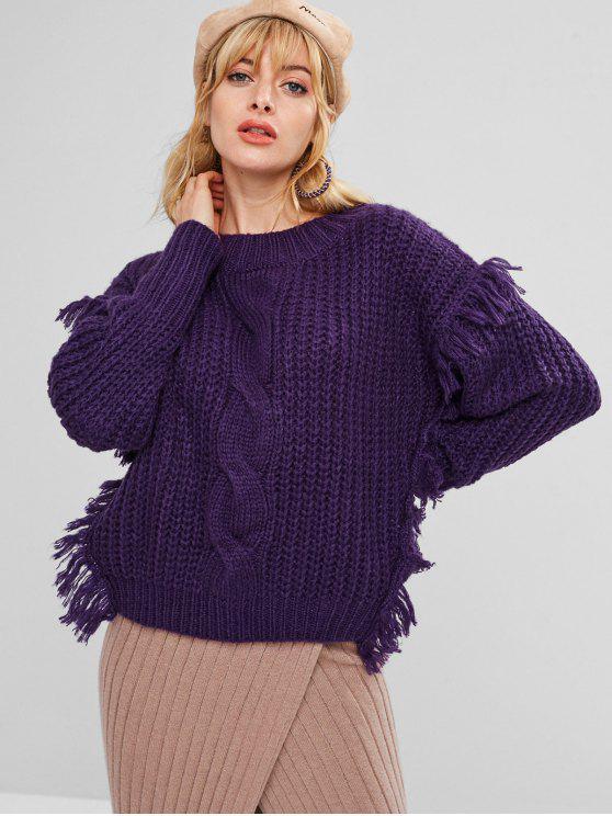 Suéter de punto de cable con flecos gruesos - Flor de Lirio Morado Talla única