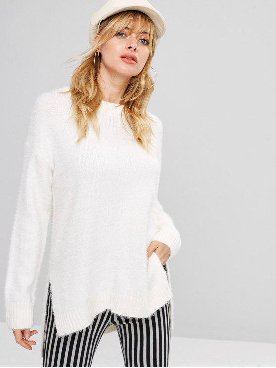 outfit High Low Loose Fit Fuzzy Sweater - WHITE ONE SIZE