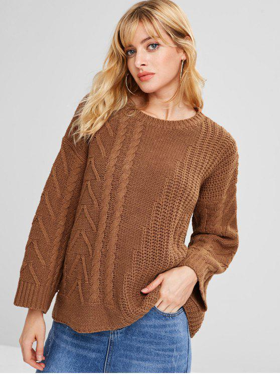 3163392125 47% OFF  2019 Pullover Drop Shoulder Cable Knit Sweater In DARK ...