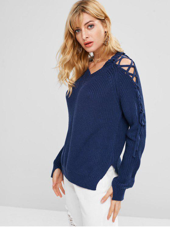 shops Lace Up Cold Shoulder V Neck Sweater - BLUE ONE SIZE