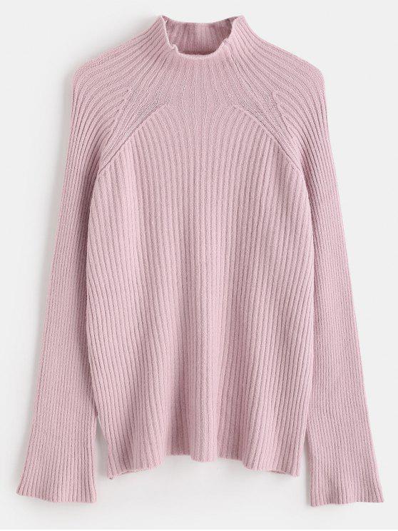 Suéter de cuello alto de manga raglán suéter - Cerdo Rosa Talla única