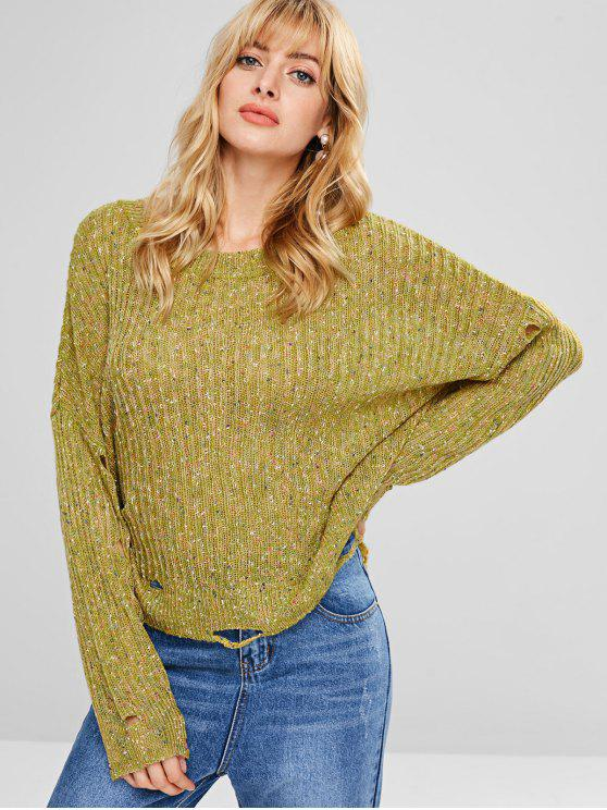 fashion Loose Distressed Heathered Sweater - AVOCADO GREEN ONE SIZE