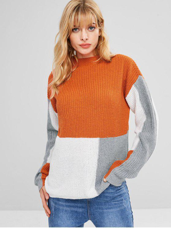 fancy Mock Neck Color Block Sweater - MULTI ONE SIZE