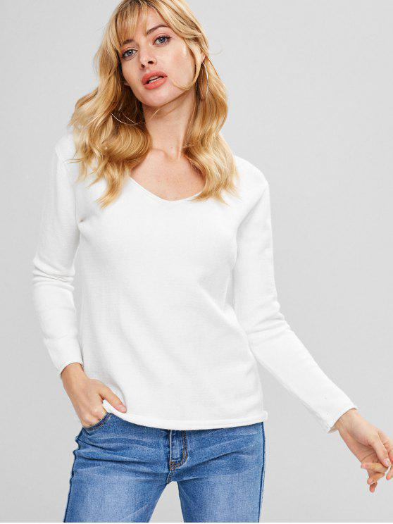 unique Roll Hem V Neck Knitwear - WHITE ONE SIZE