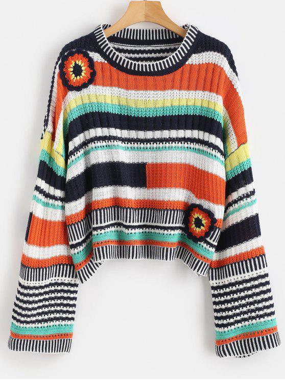 Suéter de gran tamaño floral - Multicolor Única Talla