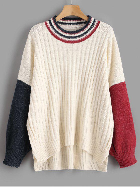 trendy Color Block Oversized Sweater - WARM WHITE ONE SIZE