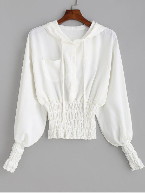 Blouse à capuche avec ceinture - Blanc M