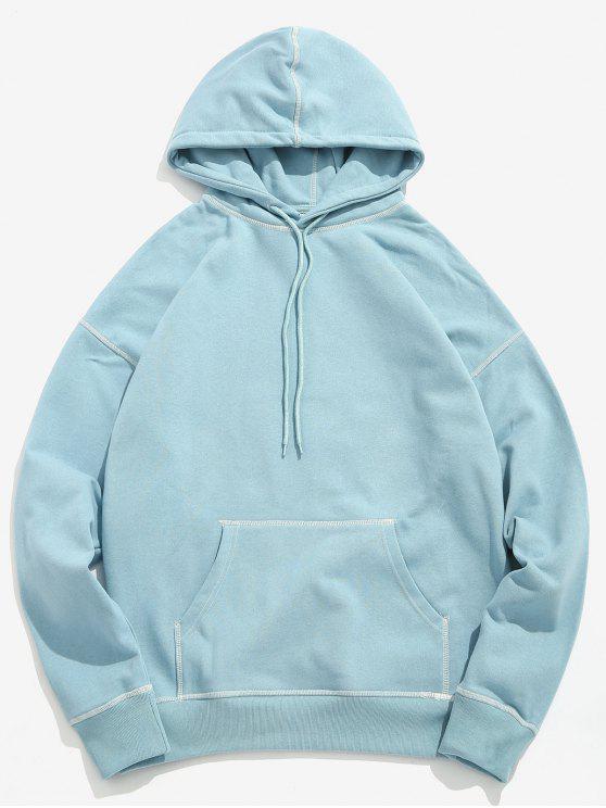 Costuras planas de contraste com capuz - Azul Claro XL